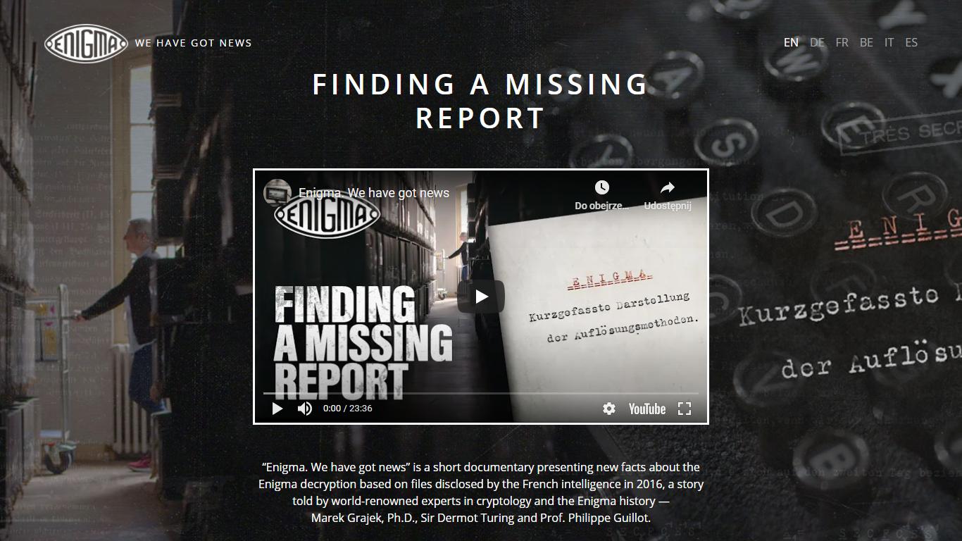 Enigma. Mamy nowiny —strona internetowa enigma.film